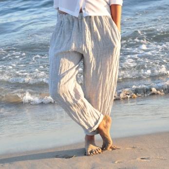 """Pantalon classique, lin """"froissé"""""""