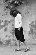 Unisex short, black heavy linen