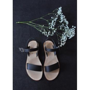 Sandales Cécile, cuir noir