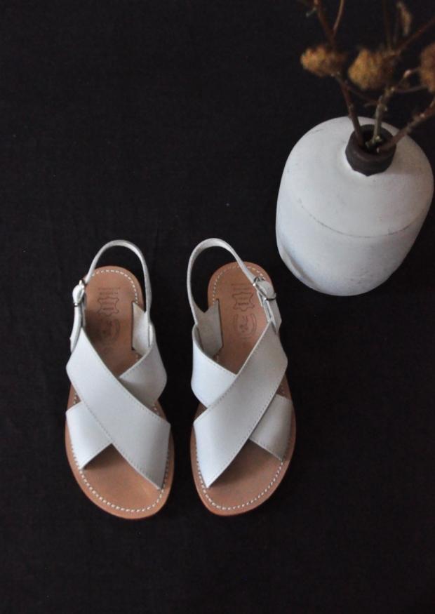 Sandales Uzes, cuir blanc