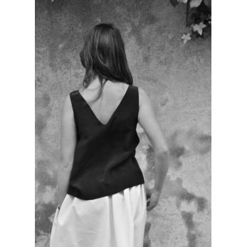 V back blouse, black silk