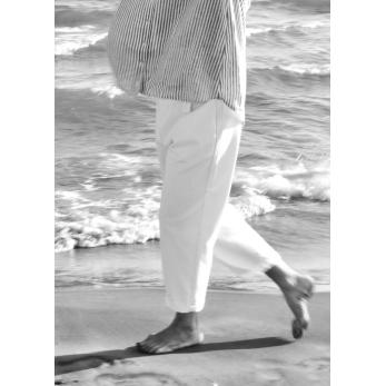Classic trousers, white denim