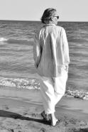 Chemise à plis, lin rayures claires