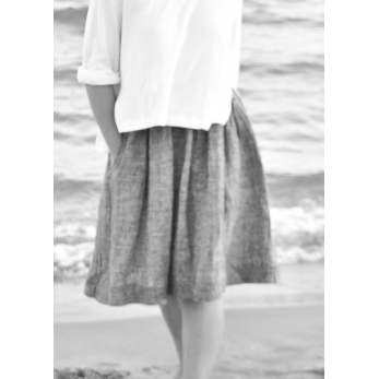 Skirt, grey linen
