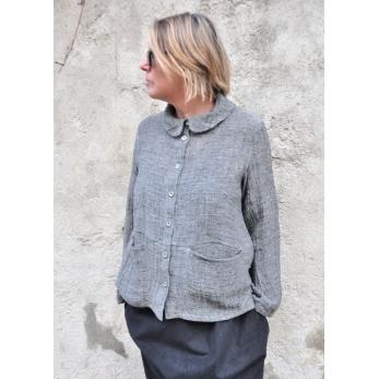 Claudine shirt, grey linen