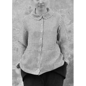 Claudine shirt, light stripes linen