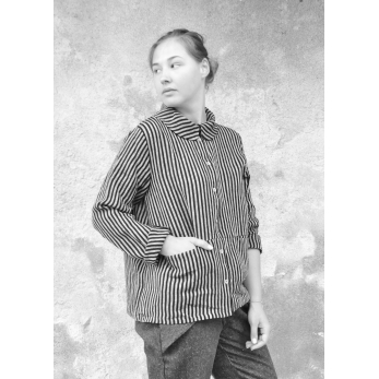 Claudine shirt, dark stripes linen