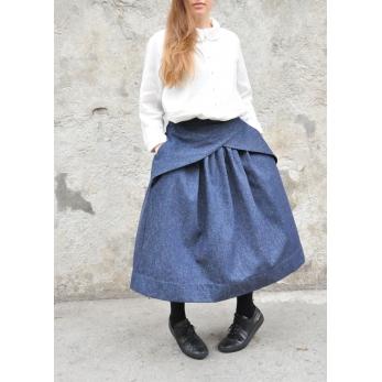 Jupe à plis, jean bleu
