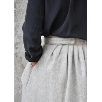 Jupe à plis, drap tourterelle