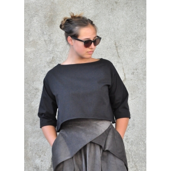 Pleated skirt, black denim