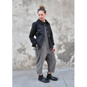 Jumpsuit, grey velvet