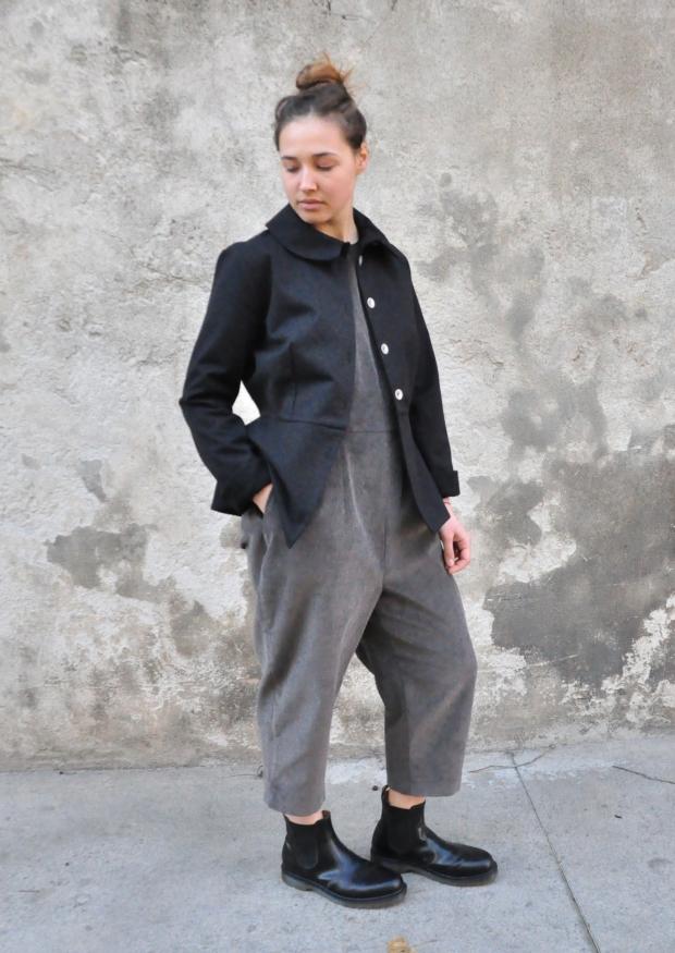 Jumpsuit, grey velvet