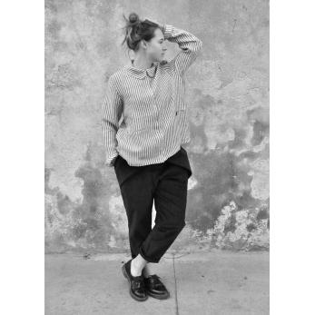 Pantalon à plis, velours noir