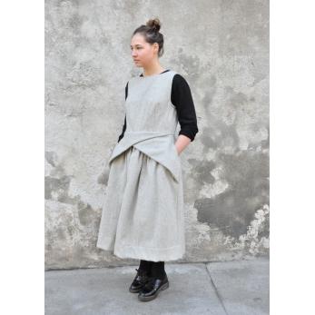 Robe à plis, drap tourterelle