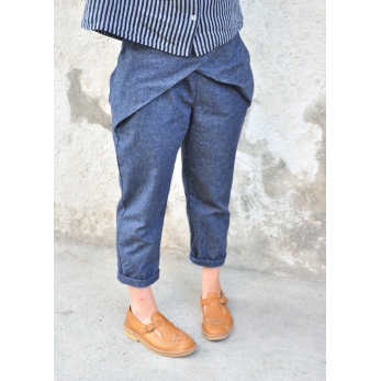 Pleated trousers, blue denim