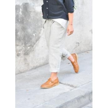 Pleated trousers, tourterelle wool drap