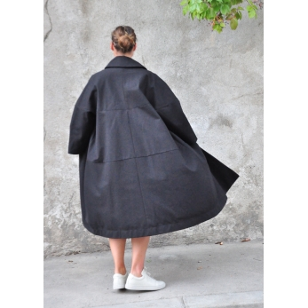 Claudine coat, black denim