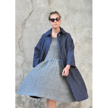 Claudine coat, blue denim