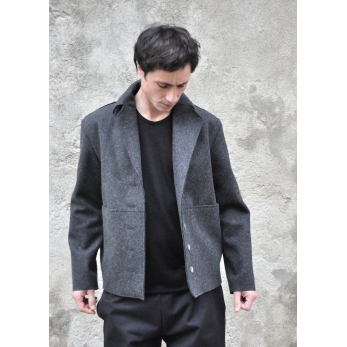 Sailor coat, grey wool drap raw edges