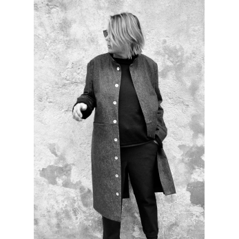 Sculptor coat, blue denim