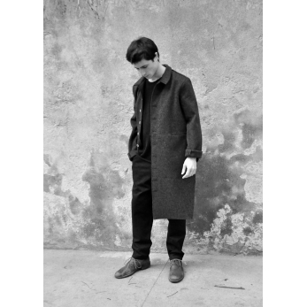 Manteau sculpteur, drap imper gris