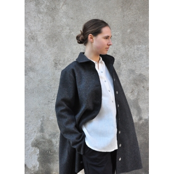 Coat, grey wool drap raw edges