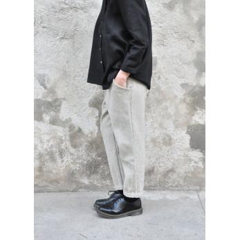 Pantalon à poches, drap tourterelle