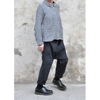 Saroual trousers, black corduroy