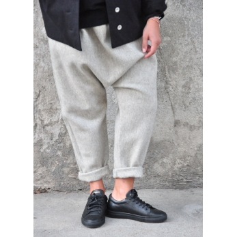 Saroual trousers, tourterelle wool drap