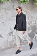 Pantalon sarouel, drap tourterelle
