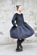 Pleated dress,  long sleeves, black corduroy