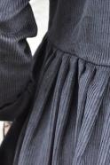 Robe à plis manches longues, velours noir