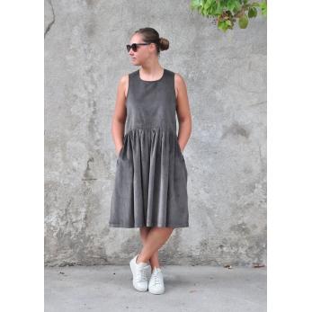 Robe à plis sans manches, velours gris