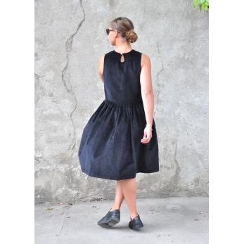 Robe à plis sans manches, velours noir