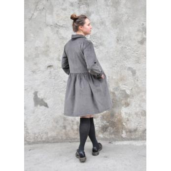 Robe-chemise, velours gris