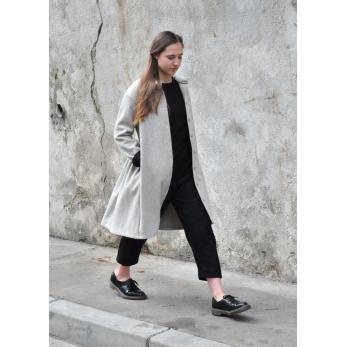 Shirt-dress, tourterelle wool drap