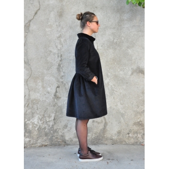 Shirt-dress, black corduroy