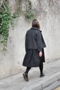 Jacket, grey wool drap, raw edges