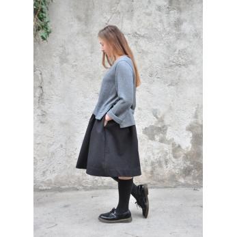 Flared blouse, light grey knit