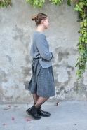 Flared sweater, grey heavy knit