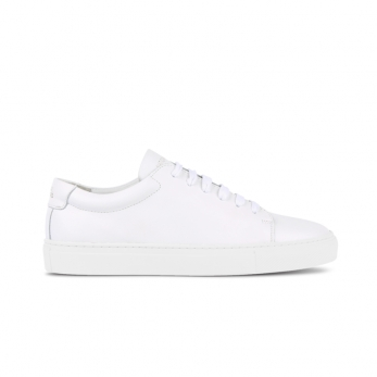 Baskets, cuir blanc