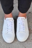 Baskets, cuir blanc
