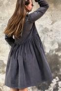 Robe à plis manches longues, velours gris