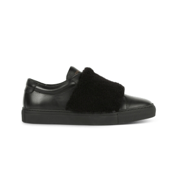 Baskets slip on, cuir noir