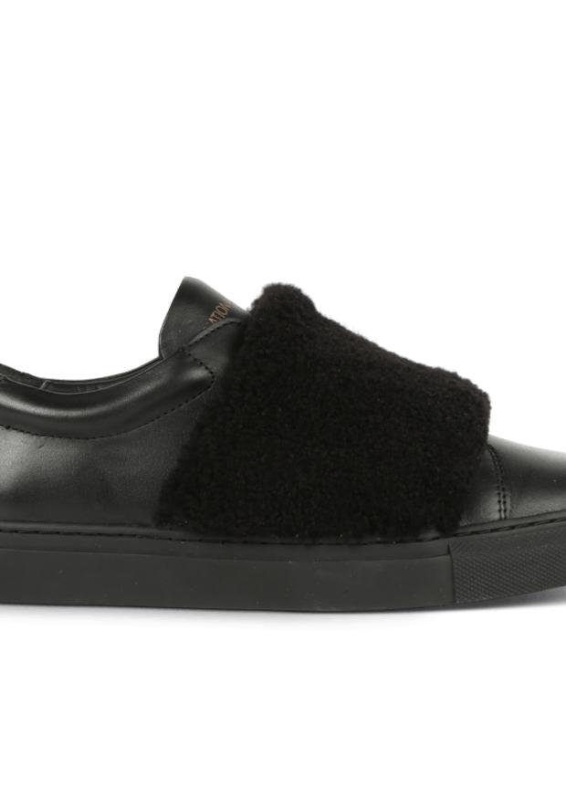 Baskets slip on, cuir noir