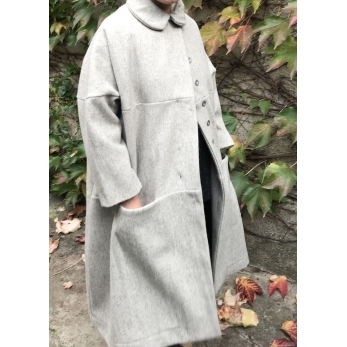Claudine coat, tourterelle wool drap