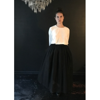 Long jupon skirt, black tulle