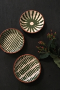 Stripe low bowl green