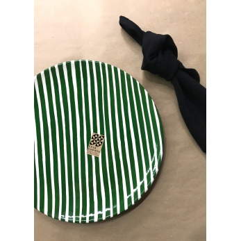 Striped plate green