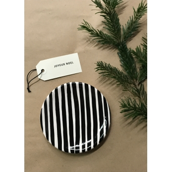 Stripes mini  plate, black